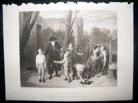 Children 1875 Steel Engraving. The Fight Interrupted